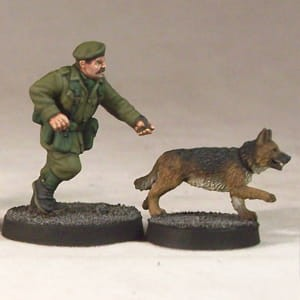 ARMY DOG HANDLER & DOGS (4)